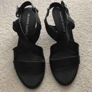 Franco Sarto black leather strappy sandal size 7.5